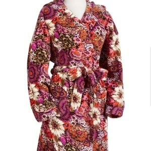 《Vera Bradley》Plush Robe Fleece Sz S/M Hooded Soft